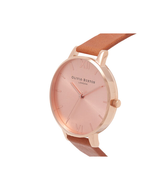 OLIVIA BURTON LONDON  Big Dial Tan And Rose Gold Watch OB15BD70 – Big Dial Round in Rose Gold and Tan - Side view