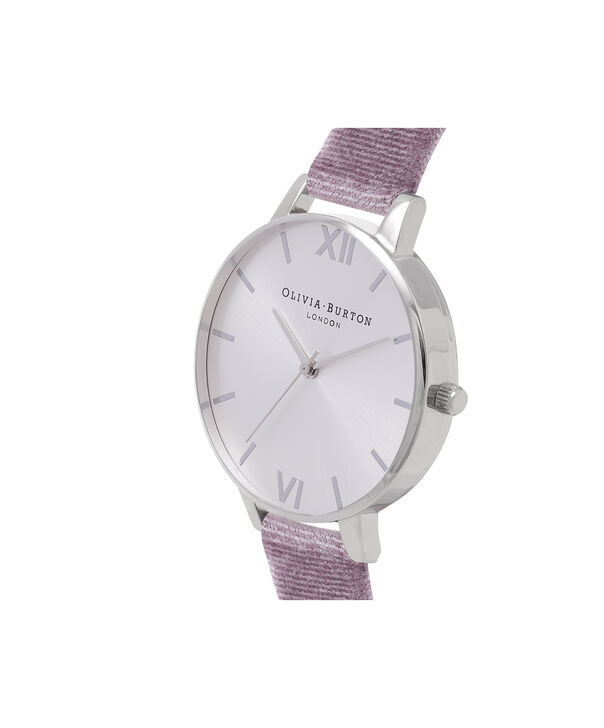 OLIVIA BURTON LONDON Exclusive Big Dial Grey Lilac Velvet & Silver Sunray OB16BD109 – Big Dial Round in Silver and Grey Lilac - Side view