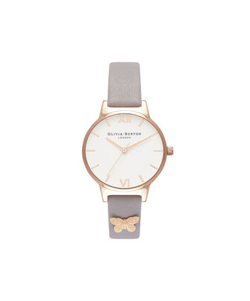 OLIVIA BURTON LONDON  Embellished Strap Butterfly, Grey Lilac & Rose Gold OB16MDW39 – Midi Dial Round in Rose Gold and Grey - Front view
