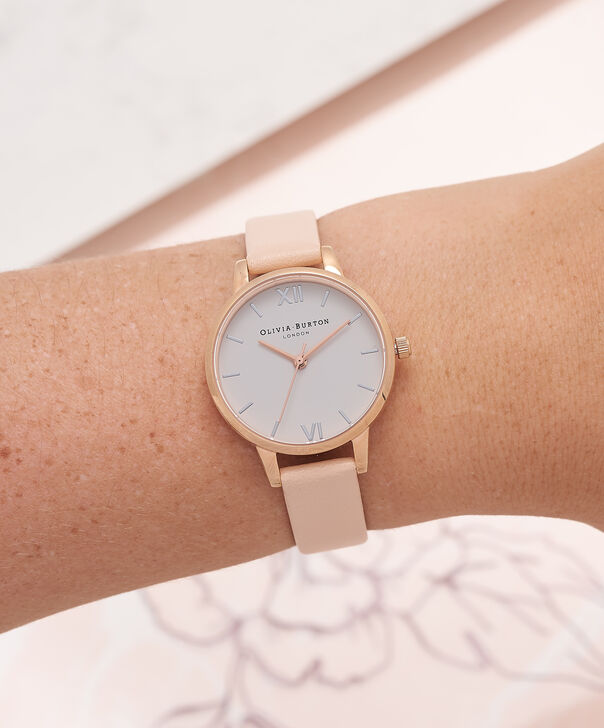 OLIVIA BURTON LONDON  Midi Dial Nude Peach, Silver & Rose Gold Watch OB16MDW21 – Midi Dial Round in White and Peach - Other view