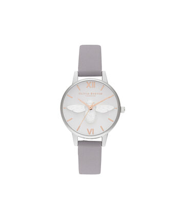 OLIVIA BURTON LONDON 3D Bee Midi Dial Grey Lilac Rose Gold & SilverOB16AM163 – Demi Dial In Grey And Silver - Front view