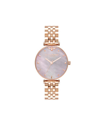 OLIVIA BURTON LONDON  Queen Bee Pink Mother of Pearl Bracelet Rose Gold OB16AM152 – Midi Dial Round in Rose Gold - Front view