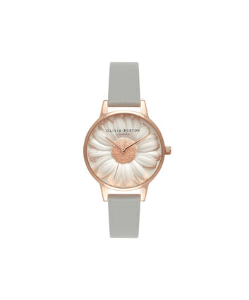 OLIVIA BURTON LONDON  3D Daisy Grey & Rose Gold Watch OB15EG50 – Midi Dial Round in White and Grey - Front view