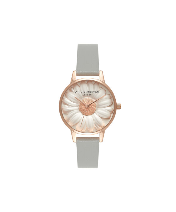 Ladies 3D Daisy Grey & Rose Gold Watch | Olivia Burton London