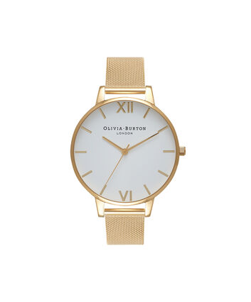OLIVIA BURTON LONDON  White Dial Gold Mesh Watch OB15BD84 – Big Dial Round in White and Gold - Front view