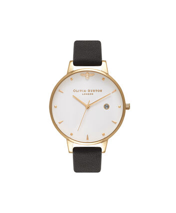 OLIVIA BURTON LONDON  Queen Bee Black & Gold Watch OB16AM86 – Big Dial Round in White and Black - Front view