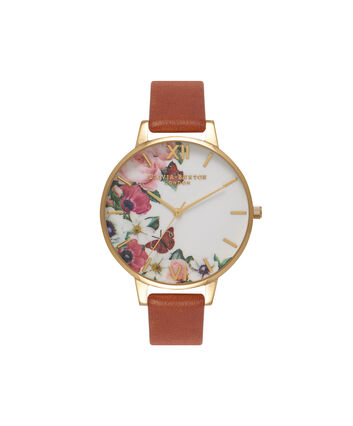 OLIVIA BURTON LONDON  English Garden Tan & Gold Watch OB16ER07 – Big Dial in White Floral and Tan - Front view
