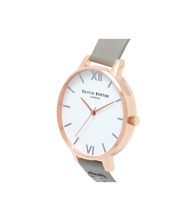 OLIVIA BURTON LONDON  Vintage Bow Stud Grey, Silver & Rose Gold Watch OB16VB06 – Big Dial Round in White and Grey - Side view
