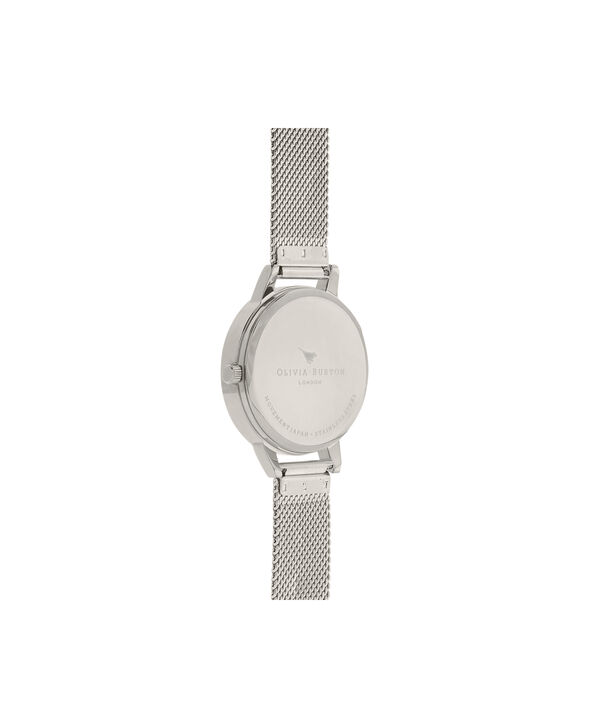 OLIVIA BURTON LONDON  Busy Bees Silver Mesh Watch OB16CH02 – Midi Dial Round in White and Silver - Back view