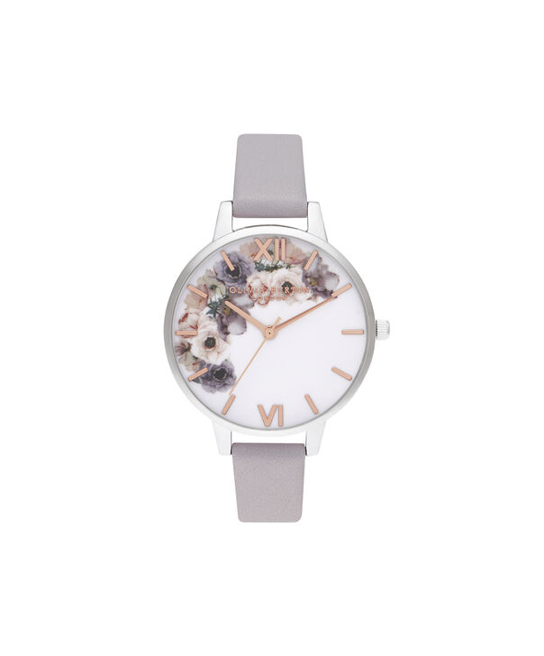 OLIVIA BURTON LONDON Watercolour Florals Demi Grey Lilac Rose Gold & SilverOB16PP56 – Demi Dial In Grey And Silver - Front view