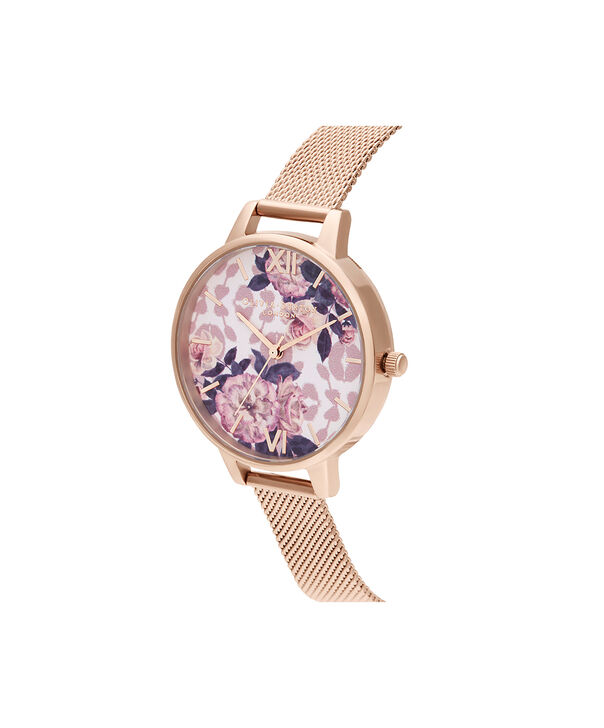 OLIVIA BURTON LONDON Wildflower Pale Rose Gold MeshOB16LP01 – Wild Flower Pale Rose Gold Mesh - Side view