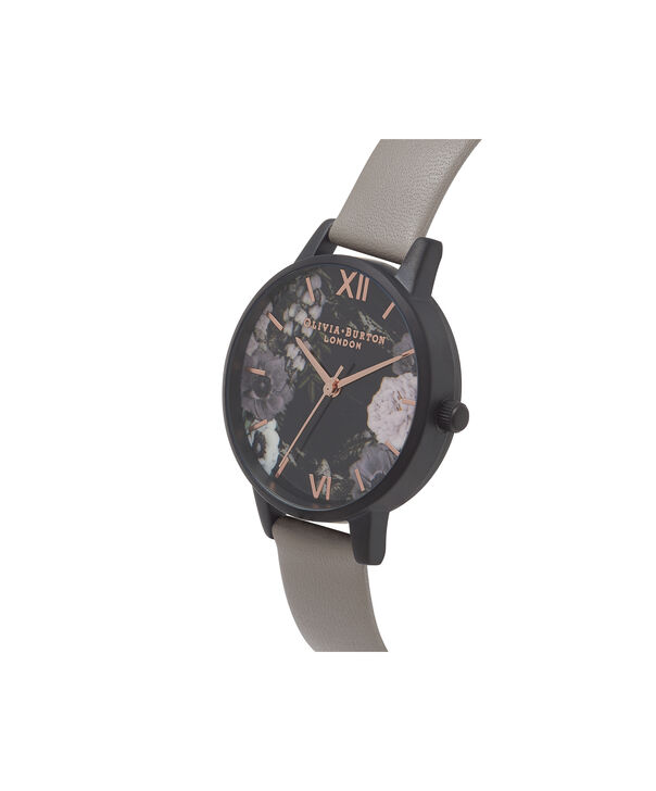 OLIVIA BURTON LONDON  After Dark Marble Floral Grey, IP Black & Rose Gold Watch OB16AD24 – Midi Round in Dark Floral and Grey - Side view