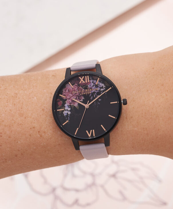 OLIVIA BURTON LONDON  After Dark Floral Grey Lilac & Matte Black Watch OB16AD15 – Big Dial in Floral and Grey Lilac - Other view