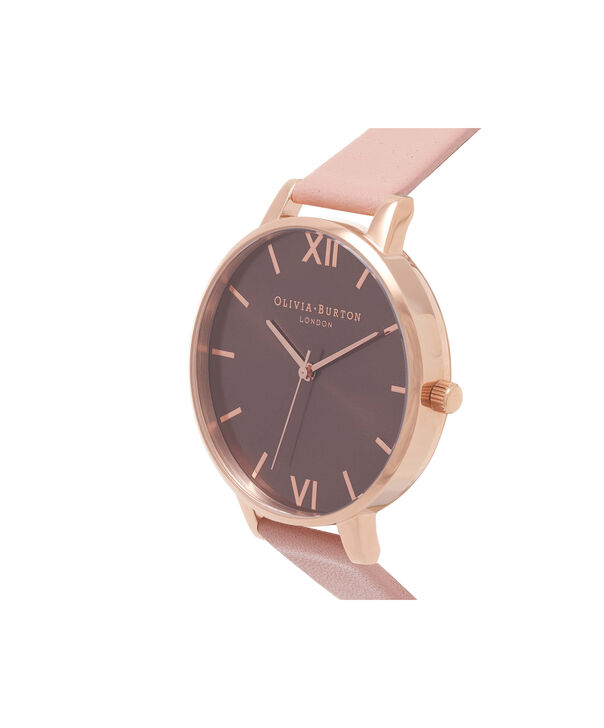 OLIVIA BURTON LONDON  Dusty Pink & Rose Gold Watch OB15BD72 – Big Dial in Chocolate and Burgundy - Side view