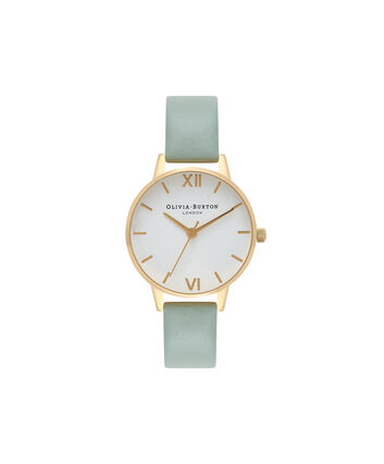 OLIVIA BURTON LONDON  Midi Dial Mint & Gold Watch OB16MDW14 – Midi Dial Round in White and Mint - Front view