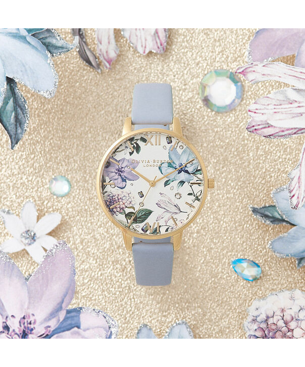 OLIVIA BURTON LONDON Bejewelled Florals Big Dial Chalk Blue & GoldOB16BF21 – Demi Dial In Blue And Gold - Front view