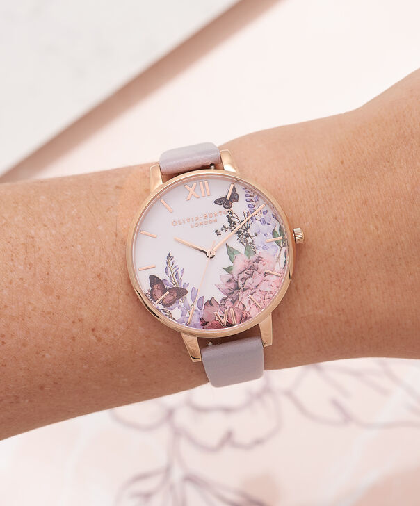 OLIVIA BURTON LONDON  Winter Garden Grey Lilac & Rose Gold Watch OB16WG34 – Big Dial in White and Grey Lilac - Other view