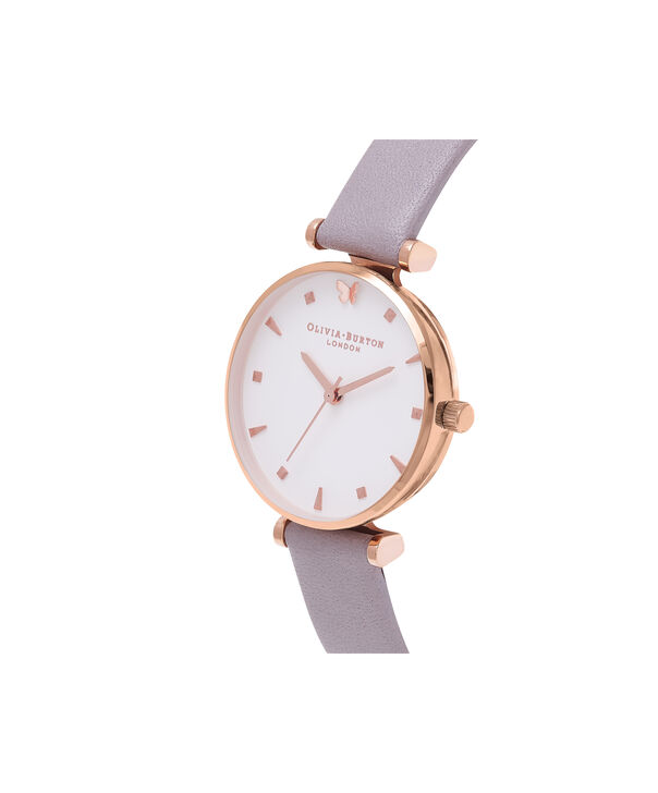 OLIVIA BURTON LONDON  Social Butterfly White Dial Grey Lilac & Rose Gold Watch OB16MB13 – Midi Dial Round in White and Rose Gold - Side view