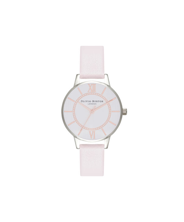 OLIVIA BURTON LONDON  Wonderland Rose Sand and Silver Watch OB16WD66 – Midi Dial Round in Silver and Rose Sand - Front view