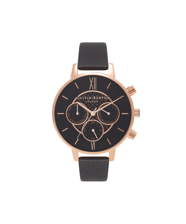 OLIVIA BURTON LONDON  Chrono Detail Dot Design Black And Rose Gold Watch OB15CG44 – Big Dial Round in Black - Front view
