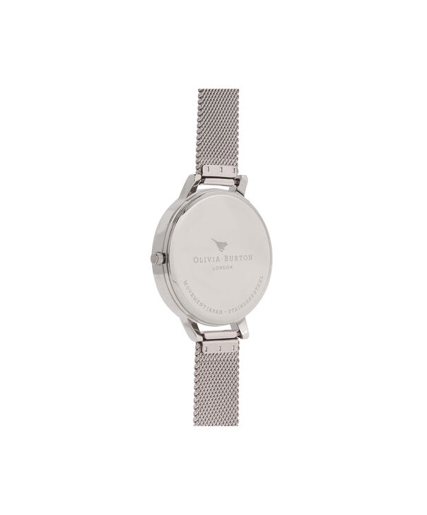 OLIVIA BURTON LONDON  Marble Floral Rose Gold & Silver Mesh Watch OB16CS10 – Big Dial in White Floral and Silver - Back view