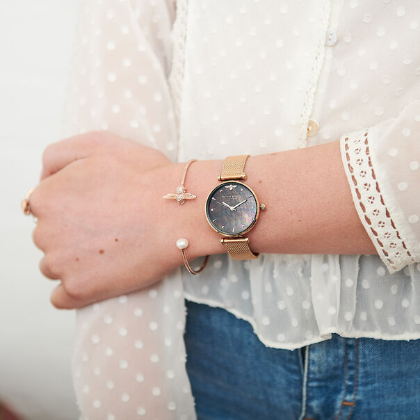 OLIVIA BURTON LONDON  Queen Bee Black Mother of Pearl Rose Gold Mesh OB16AM145 – Midi Dial Round in Rose Gold - Other view