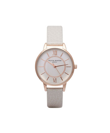 OLIVIA BURTON LONDON WonderlandOB14WD24 – Midi Dial Round in Silver and Mink - Front view