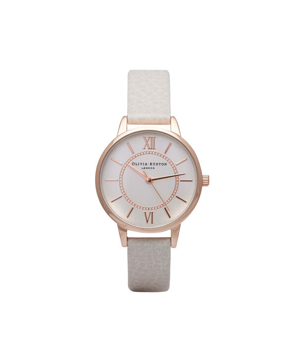 OLIVIA BURTON LONDON  Wonderland Mink And Rose Gold Watch OB14WD24 – Midi Dial Round in Silver and Mink - Front view