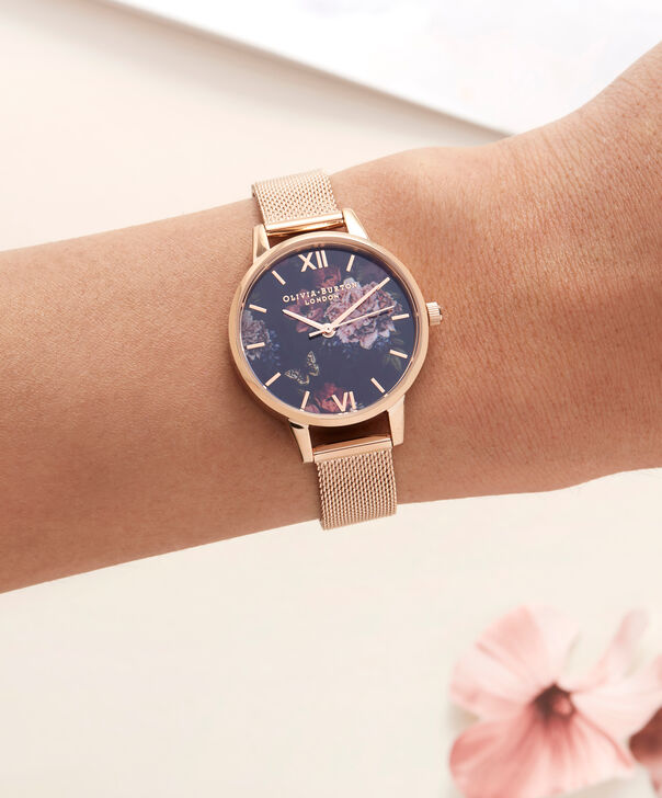 OLIVIA BURTON LONDON  Dark Bouquet Rose Gold Mesh Watch OB16WG44 – Midi Dial Round in Rose Gold - Other view