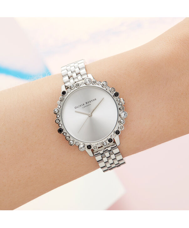 OLIVIA BURTON LONDON Limited Edition Bejewelled Case Watch, Silver BraceletOB16US31 – Bejewelled Case Watch - Other view