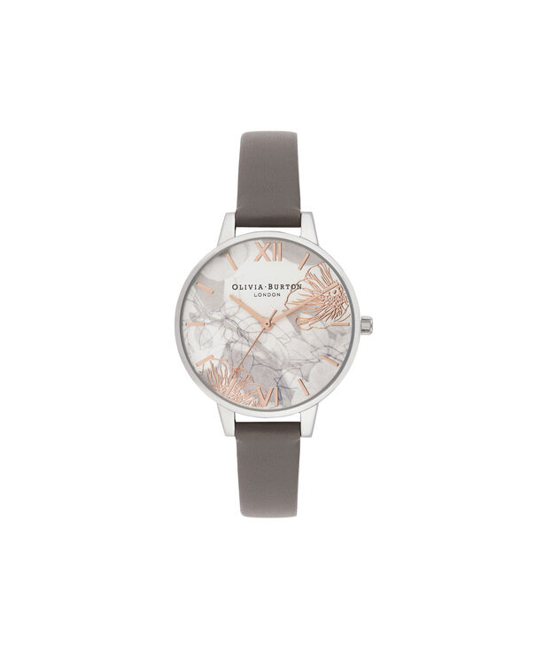 OLIVIA BURTON LONDON Abstract Florals Demi Dial WatchOB16VM32 – Demi Dial in grey and Silver - Front view