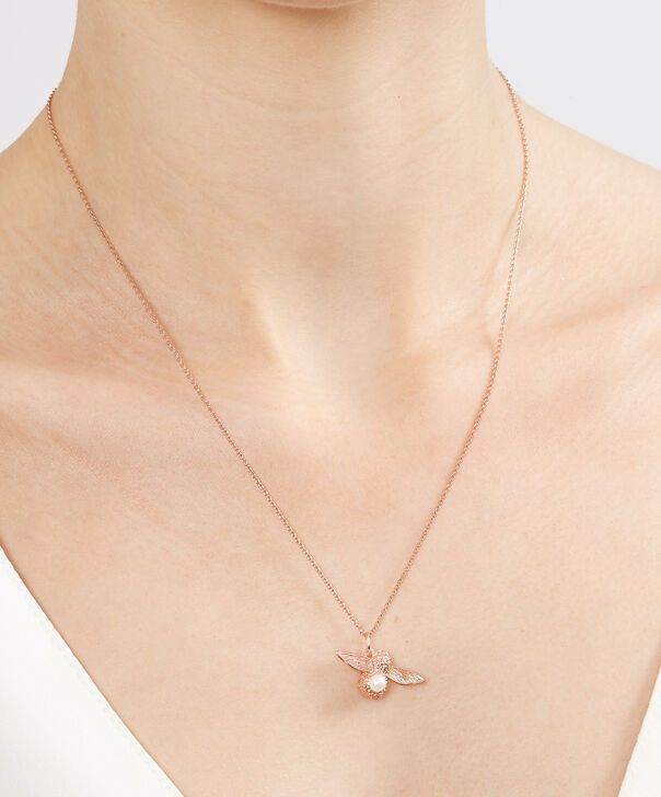 OLIVIA BURTON LONDON Pearl Bee Pendant Necklace Rose GoldOBJ16AMN29 – Pearl Bee Pendant - Other view