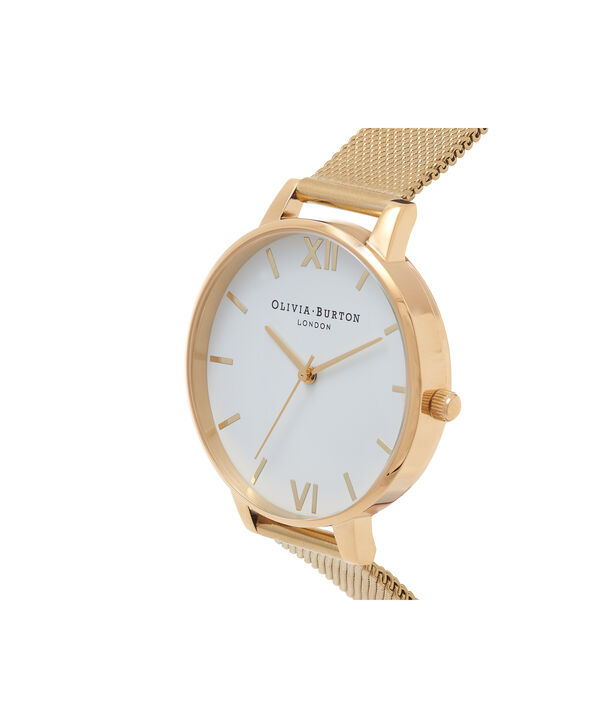 OLIVIA BURTON LONDON  White Dial Gold Mesh Watch OB15BD84 – Big Dial Round in White and Gold - Side view