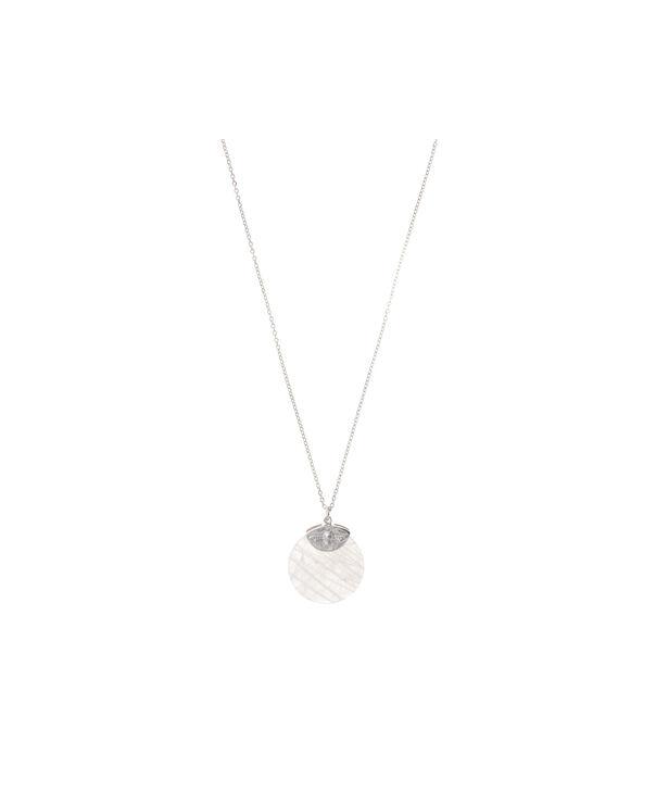 OLIVIA BURTON LONDON Semi Precious Necklace Silver & Rose QuartzOBJ16AMN24 – Semi Precious Necklace - Front view