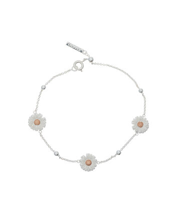 OLIVIA BURTON LONDON  Daisy & Ball Chain Bracelet Silver & Rose Gold OBJ16DAB02 – 3D Daisy Chain Bracelet - Front view