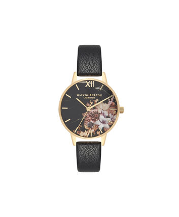 OLIVIA BURTON LONDON Marble FloralsOB16CS11 – Midi Dial Round in Floral Sand and Black - Front view