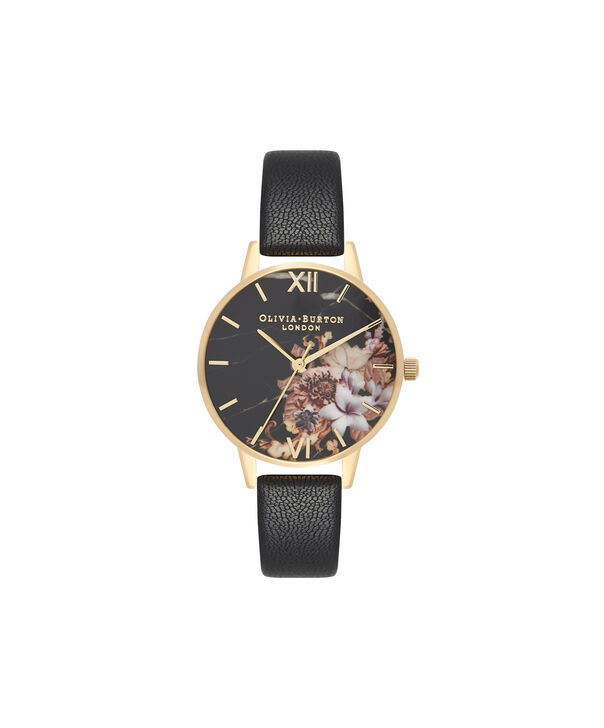 OLIVIA BURTON LONDON  Marble Floral Black & Gold Watch OB16CS11 – Midi Dial Round in Floral Sand and Black - Front view