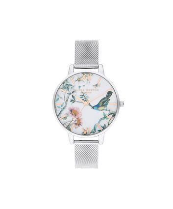 OLIVIA BURTON LONDON Painterly Prints Rose Gold & Silver MeshOB16EG147 – Painterly Prints Rose Gold & Silver Mesh - Front view