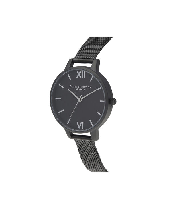 OLIVIA BURTON LONDON After Dark Silver & Matte Black MeshOB16AD51 – Demi Dial In Black And Ip Black - Side view