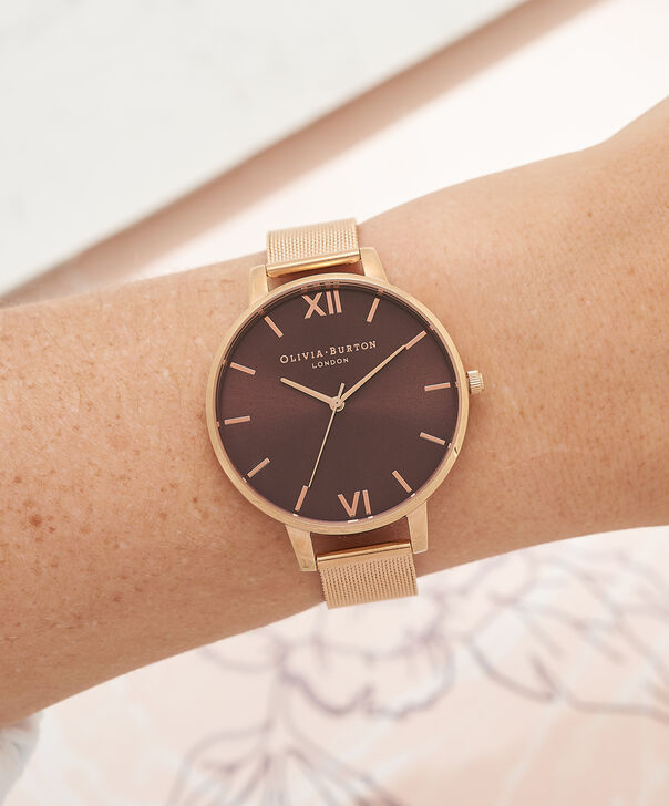 OLIVIA BURTON LONDON  Big Dial Rose Gold Mesh Watch OB16BD86 – Big Dial in Chocolate and Rose Gold - Other view