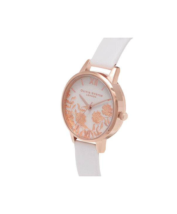 OLIVIA BURTON LONDON  Lace Detail Blush & Rose Gold Watch OB16MV69 – Midi Dial Round in Blush - Side view