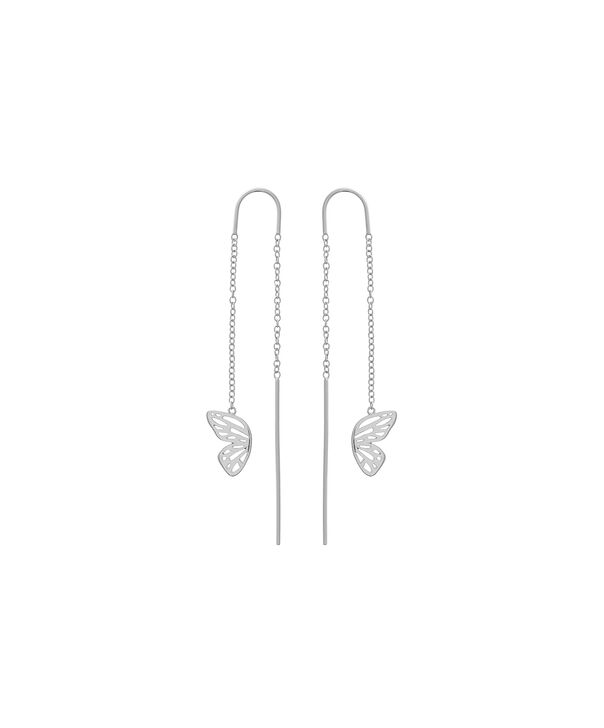 OLIVIA BURTON LONDON Butterfly Wing Threader Earring Silver OBJ16EBE03 – Butterfly Wing Threader Earrings - Front view