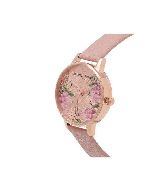 OLIVIA BURTON LONDON  Dot Design Floral Dusty Pink & Rose Gold Watch OB15EG43 – Midi Dial Round in Floral and Pink - Side view