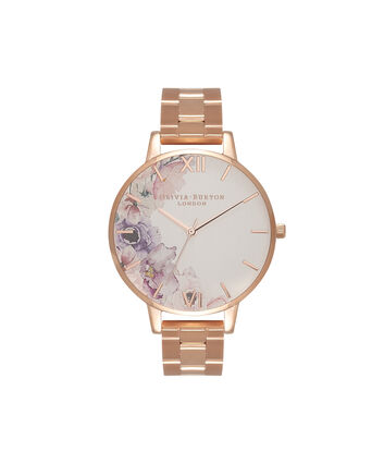 OLIVIA BURTON LONDON Watercolour FloralsOB16PP38 – Midi Dial Round in White and Rose Gold - Front view