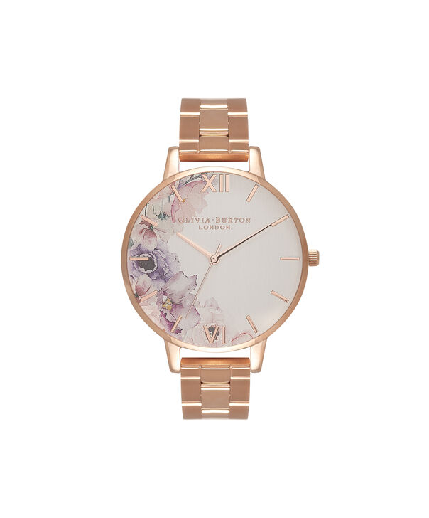 OLIVIA BURTON LONDON  Watercolour Florals Gold Bracelet Watch OB16PP38 – Midi Dial Round in White and Rose Gold - Front view