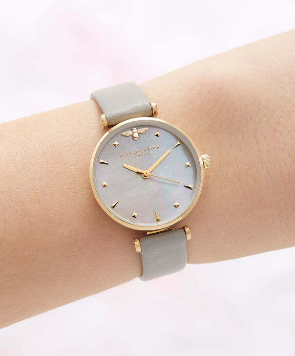 OLIVIA BURTON LONDON  Queen Bee Grey Mother of Pearl Grey & Gold OB16AM154 – Midi Dial Round in Gold and Grey - Other view