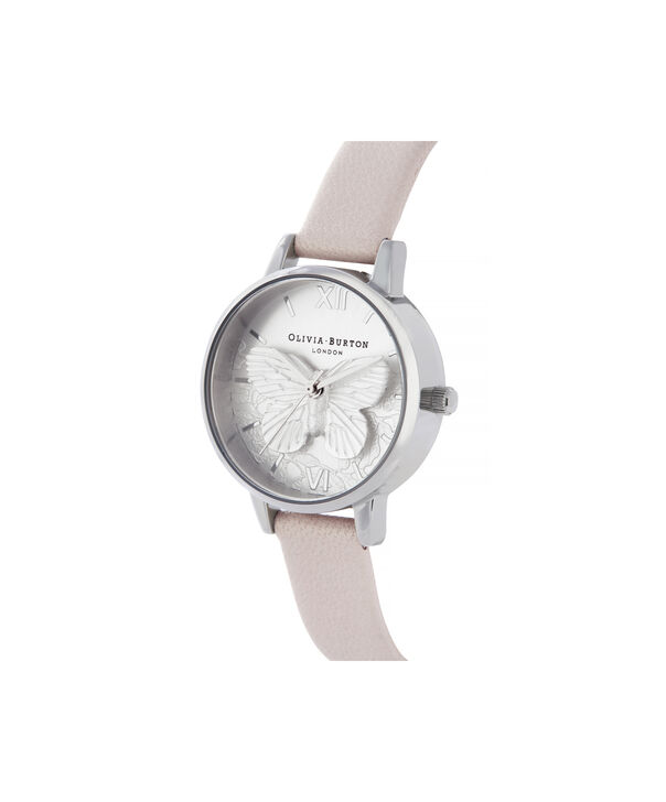 OLIVIA BURTON LONDON Lace Detail Midi Dial WatchOB16MV97 – Midi Dial in pink and Silver - Side view