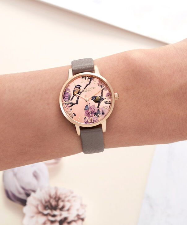 OLIVIA BURTON LONDON  Pretty Blossom Rose Gold & London Grey Watch OB16PL36 – Midi Dial Round in London Grey and Rose Gold - Other view