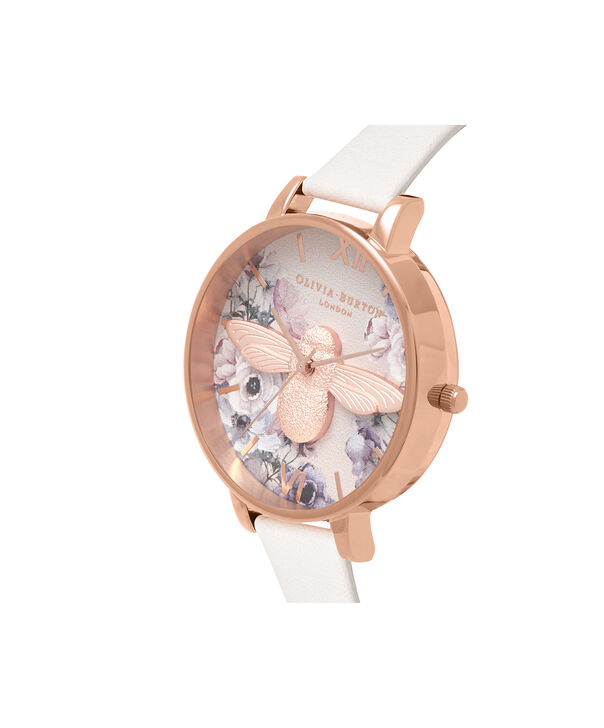 OLIVIA BURTON LONDON  Watercolour Florals Blush & Rose Gold OB16PP41 – Midi Dial Round in Rose Gold - Side view