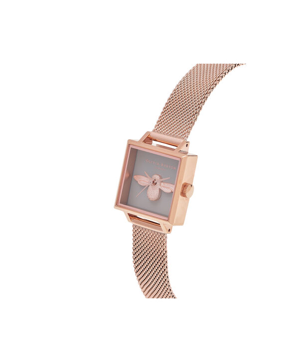 OLIVIA BURTON LONDON  Square Dial 3D Bee Rose Gold Mesh Watch OB16AM132 – Midi Square Grey and Rose Gold - Side view